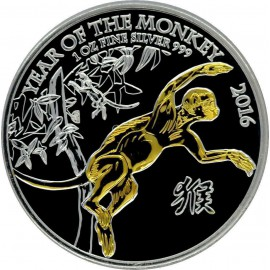 1 oz Lunar UK  Monkey 2016 Gilded