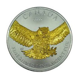 1 Unze Silber Birds of Prey  Owl 2015 Gilded
