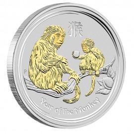 1 oz Silber Affe Lunar II 2016 gilded Box