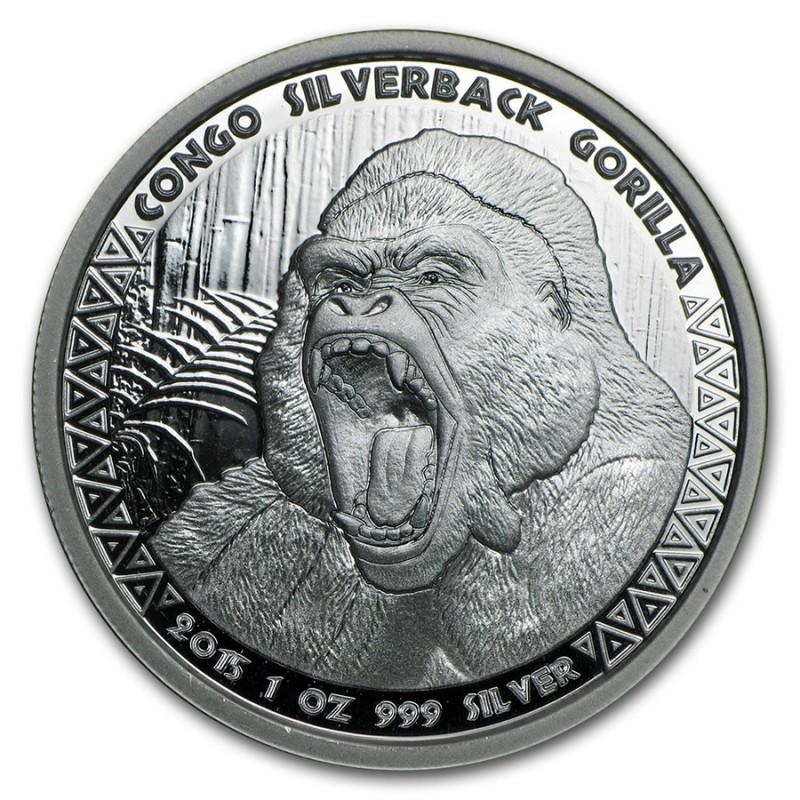 1 Unze Silberrücken Gorilla Kongo 2015