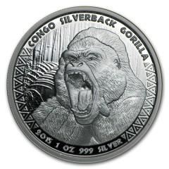 1 Unze Silber  Silberrücken Gorilla Kongo 2015
