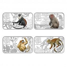 Cook Islands Year of the monkey 4 x 1 $ Münzen Set