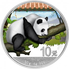 30 Gramm  China Silber Panda 2016 Coloriert  Variante Rotes Dach